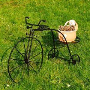 Bicikli kovácsoltvas virágtartó állvány